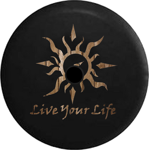 Jeep Wrangler JL Backup Camera Day Live Your Life Tribal Sun Compass Water Sealife RV Camper Spare Tire Cover-35 inch