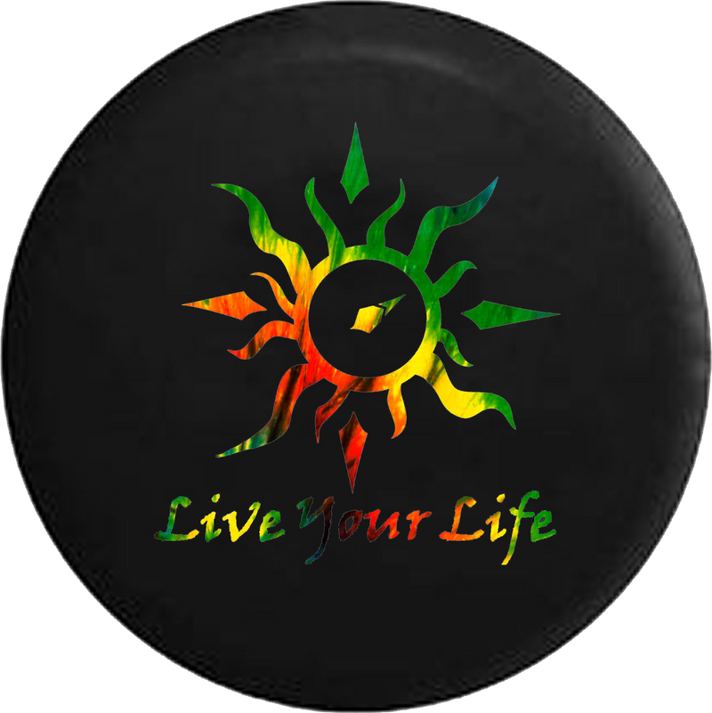 Live Your Life Tribal Sun Compass Tiedye