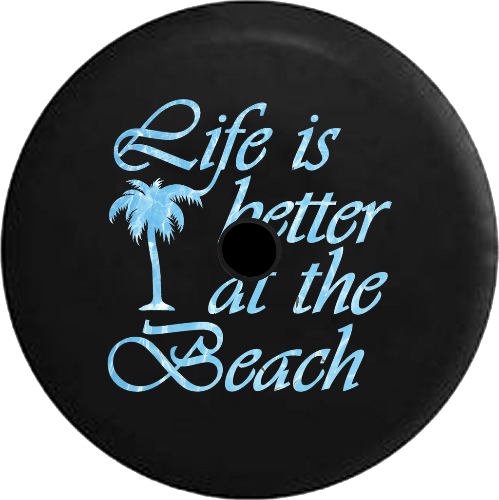 Jeep Wrangler JL Backup Camera Day Life is Better at the Beach Tiedye Palm Tree RV Camper Spare Tire Cover-35 inch