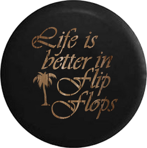 Life is Better in Flip Flops Wood Distressed Palm Tree