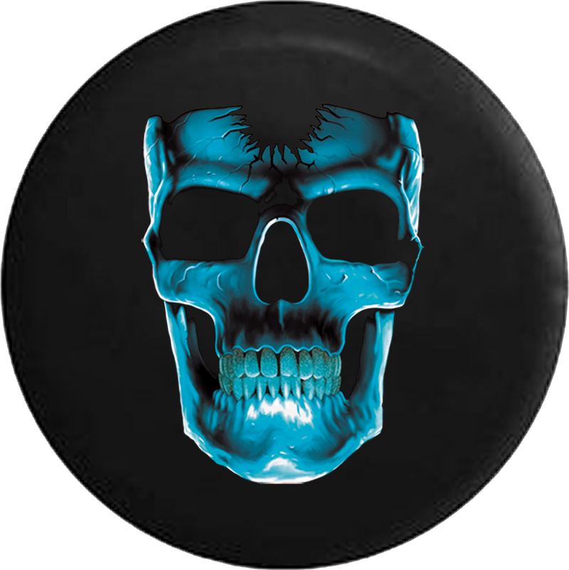 Cracked Blue Skull Jeep Liberty Spare Tire Cover