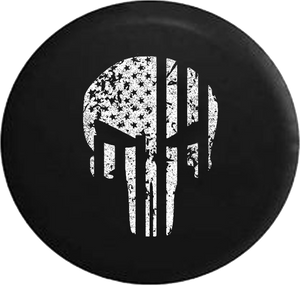 Jeep Liberty Tire Cover With Distressed Military Punisher Print (Liberty 02-12)