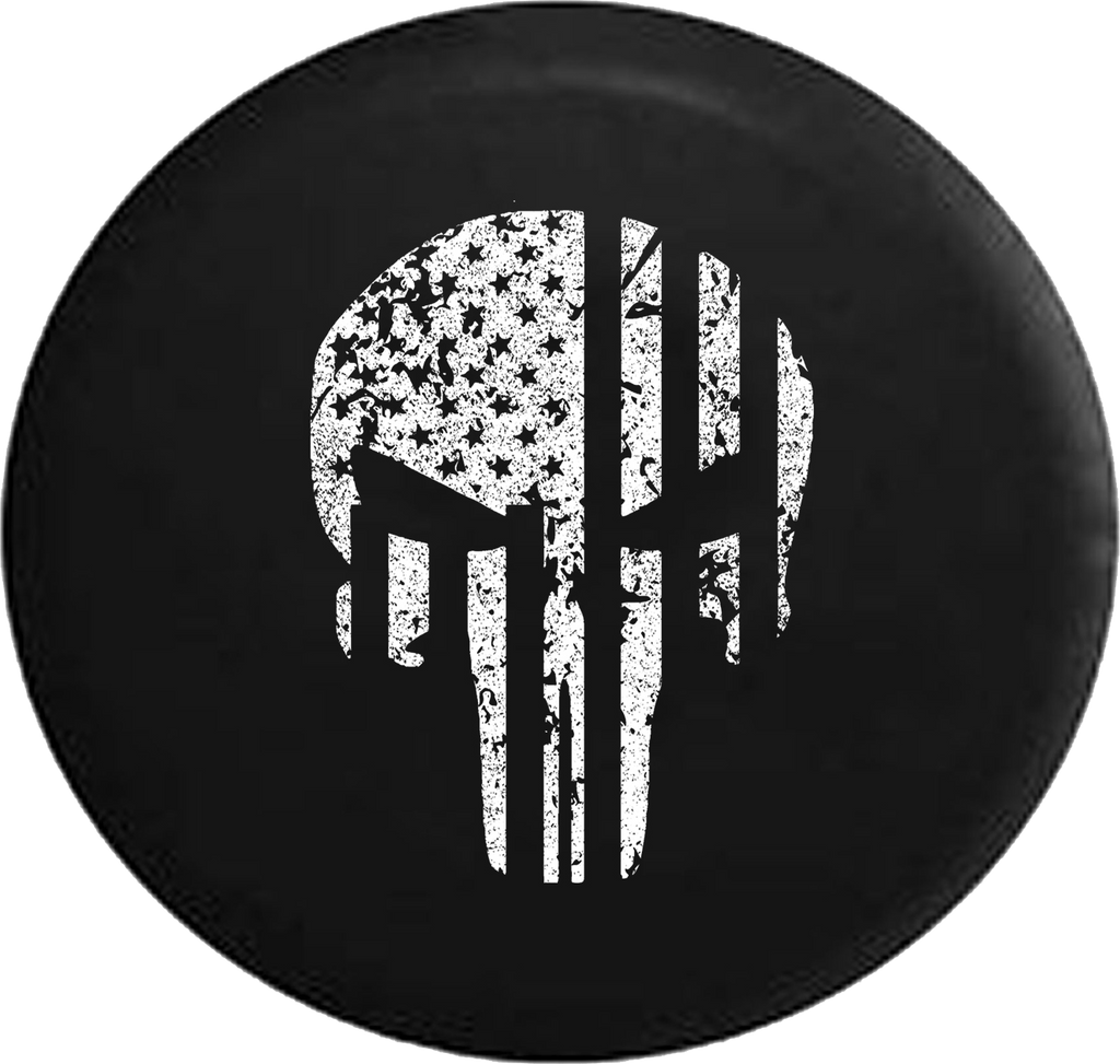 Jeep Wrangler Tire Cover With Distressed Military Punisher Print (Wrangler JK, TJ, YJ)