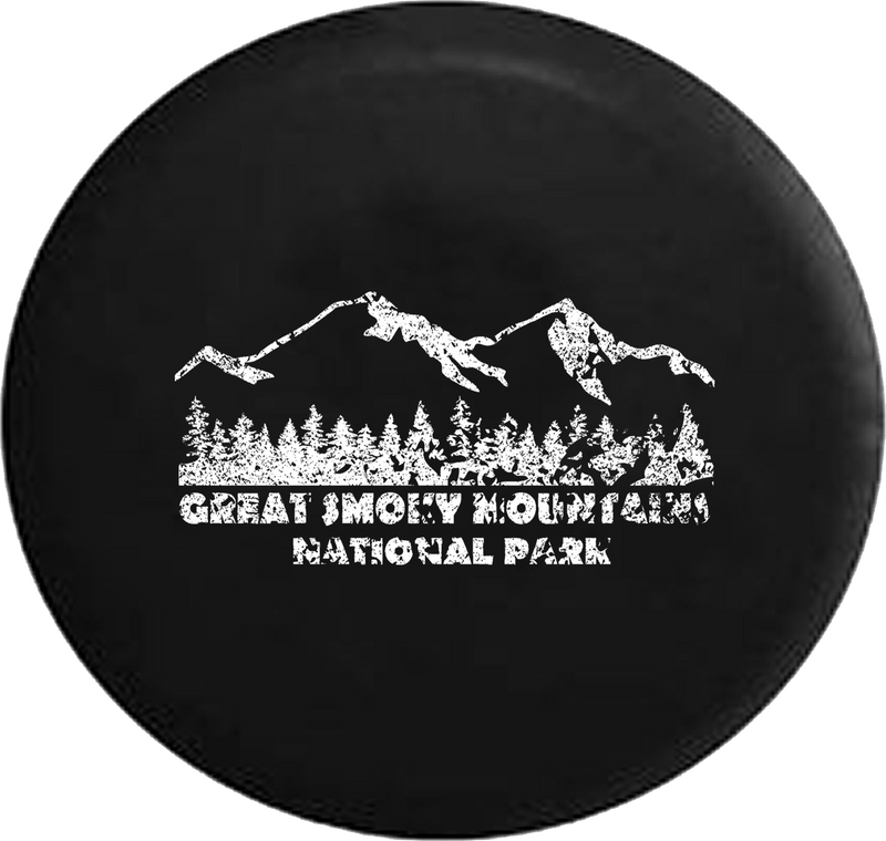 Distressed - Great Smoky Mountains Landscape Jeep Camper Spare Tire Cover F467 35 inch