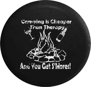 Distressed - Camping is Cheaper than Therapy & You Get S'mores Travel Jeep Camper Spare Tire Cover J259 35 inch
