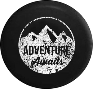 Distressed - Adventure Awaits Mountain Scene Stamp Style Jeep Camper Spare Tire Cover J303 35 inch