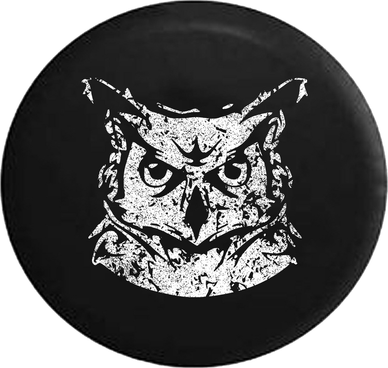 Distressed - Staring Night Owl Jeep Camper Spare Tire Cover J314 35 inch