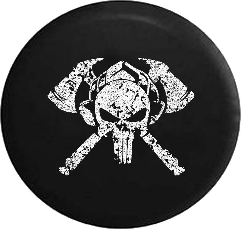 Distressed - Fire Department Punisher Skull Shield Helmet with Crossed Axes Jeep Camper Spare Tire Cover J370 35 inch