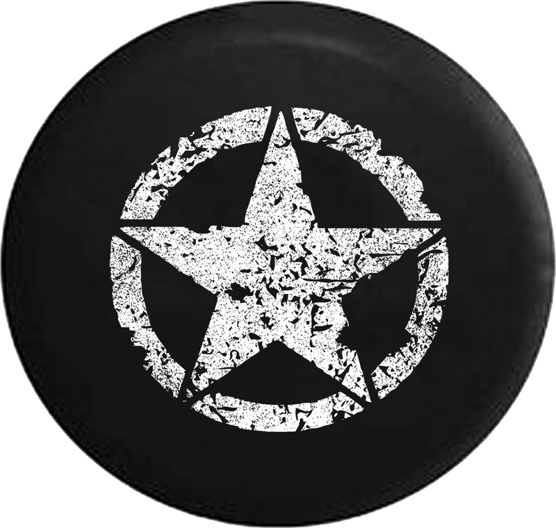 Distressed - Oscar Mike On Mission Vintage Star Jeep Camper Spare Tire Cover K225 35 inch