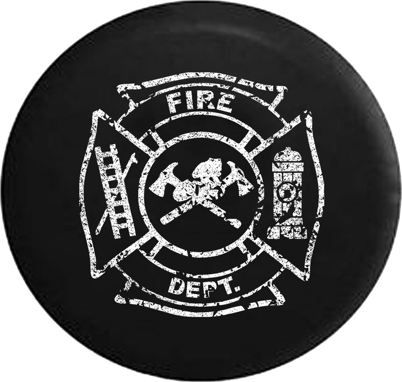 Distressed - Fire Department Jeep Camper Spare Tire Cover S199 35 inch