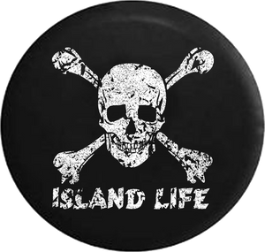 Distressed - Pirate Life Skull & Crossbones Saltwater Edition Jeep Camper Spare Tire Cover S211 35 inch