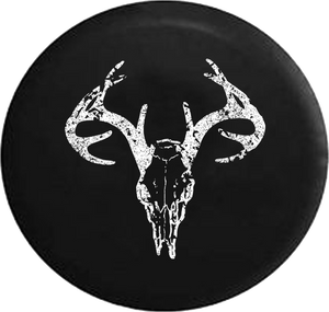 Distressed - Deer Skull Antlers Hunting Archery Bone Collector Jeep Camper Spare Tire Cover S259 35 inch