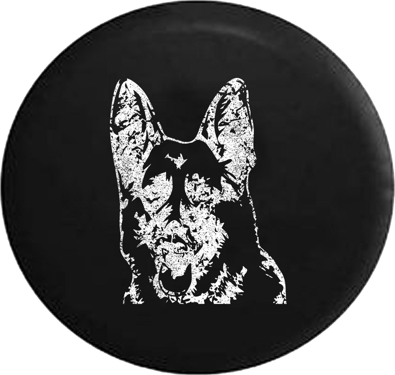 Distressed - German Shepherd Dog Lover K9 Jeep Woof Jeep Camper Spare Tire Cover S261 35 inch