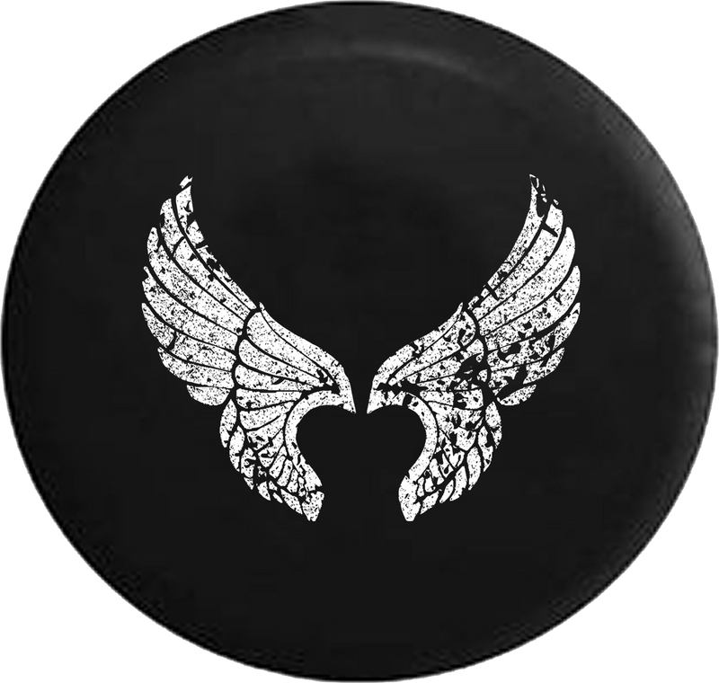 Jeep Wrangler Tire Cover With Distressed Angel Wings Print (Wrangler JK, TJ, YJ)