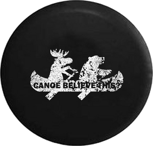 Distressed - Moose Bear Canoe Outdoors Funny Camping Jeep Jeep Camper Spare Tire Cover S267 35 inch