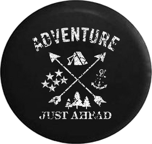 Distressed - Adventure Just Ahead Camping Woods Anchor Stars Boating Hunting Jeep Camper Spare Tire Cover S347 35 inch
