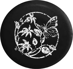 Distressed - Butterfly on Flowers & Leaves Jeep Camper Spare Tire Cover T015 35 inch