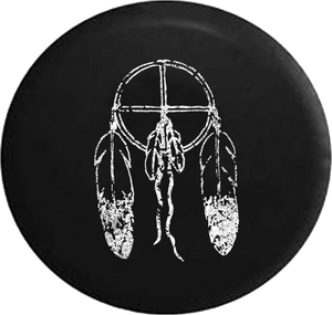 Distressed - American Indian Dream Catcher Feathers Jeep Camper Spare Tire Cover T064 35 inch
