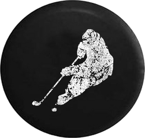 Distressed - Hockey Player Skating with Puck Trailer Jeep Camper Spare Tire Cover T156 35 inch
