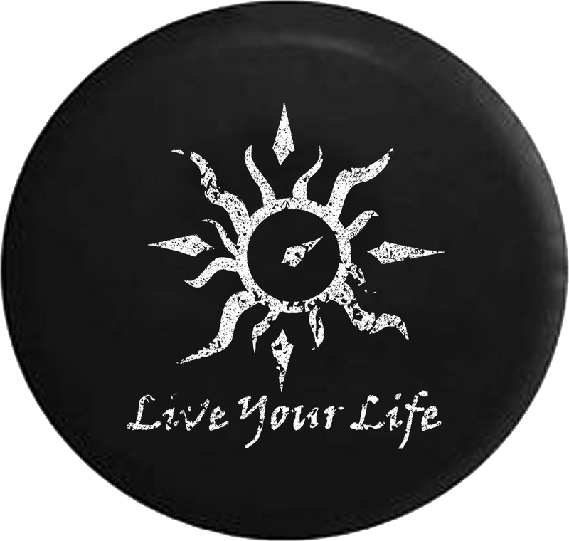 Distressed - Live Your Life Tribal Sun Compass Jeep Camper Spare Tire Cover U115 35 inch