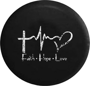 Distressed - Faith Hope Love Cross Heart EKG Jesus Religious Jeep Camper Spare Tire Cover U142 35 inch
