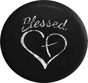 Distressed - Blessed Heart with Cross Jeep Jeep Camper Spare Tire Cover U145 35 inch