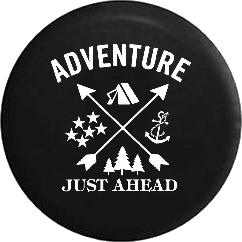Adventure Just Ahead Camping Woods Anchor Stars Boating Hunting Offroad RV Camper Spare Tire Cover- Custom - TireCoverPro