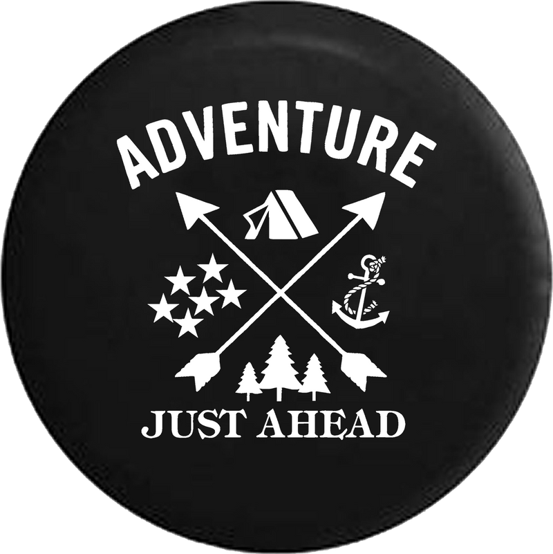 Adventure Just Ahead Camping Woods Anchor Stars Boating Hunting Offroad RV Camper Spare Tire Cover- Custom