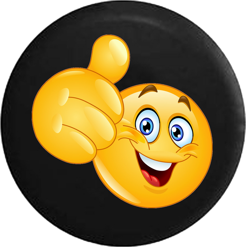 Smiling Thumbs Up Emoji Text Jeep Camper Spare Tire Cover Custom Size - V519