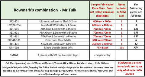 Mr Tulk sheet fabrication pack size