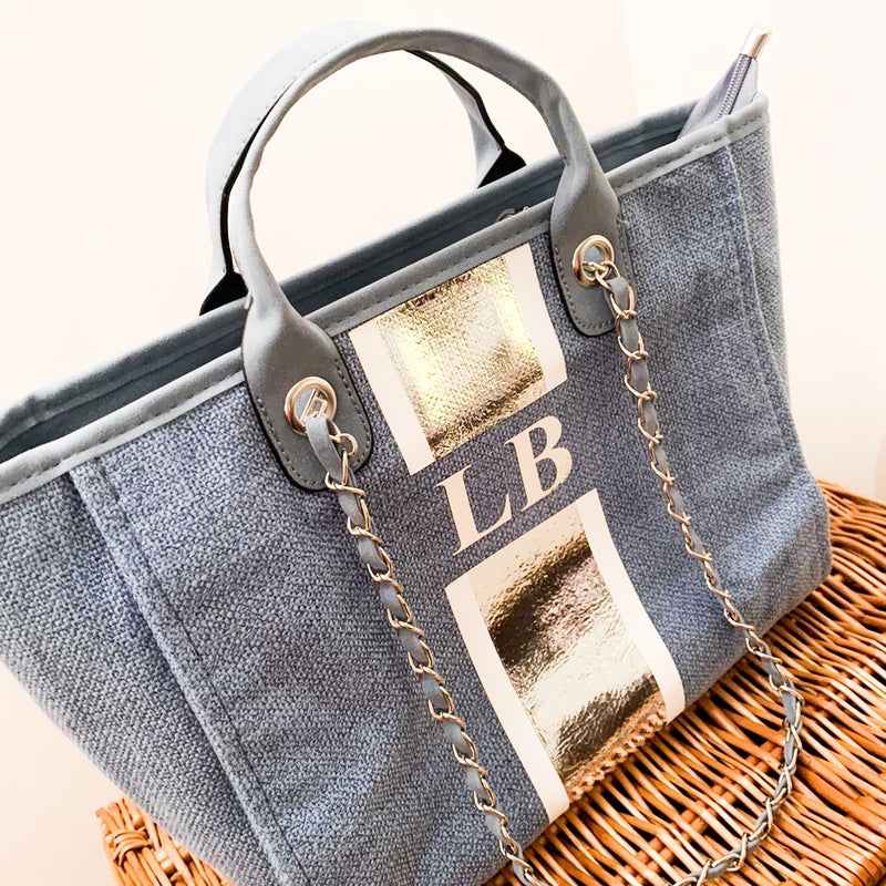 Denim Tote with Chain