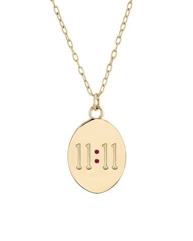 11:11 Necklace, 14k Yellow Gold & Rubies