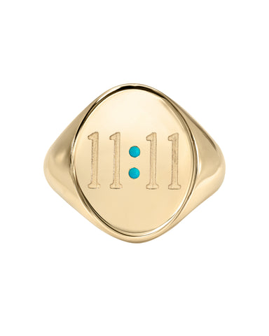 Turquoise and Tobacco 11:11 14k Yellow Gold Ring with Turquoise