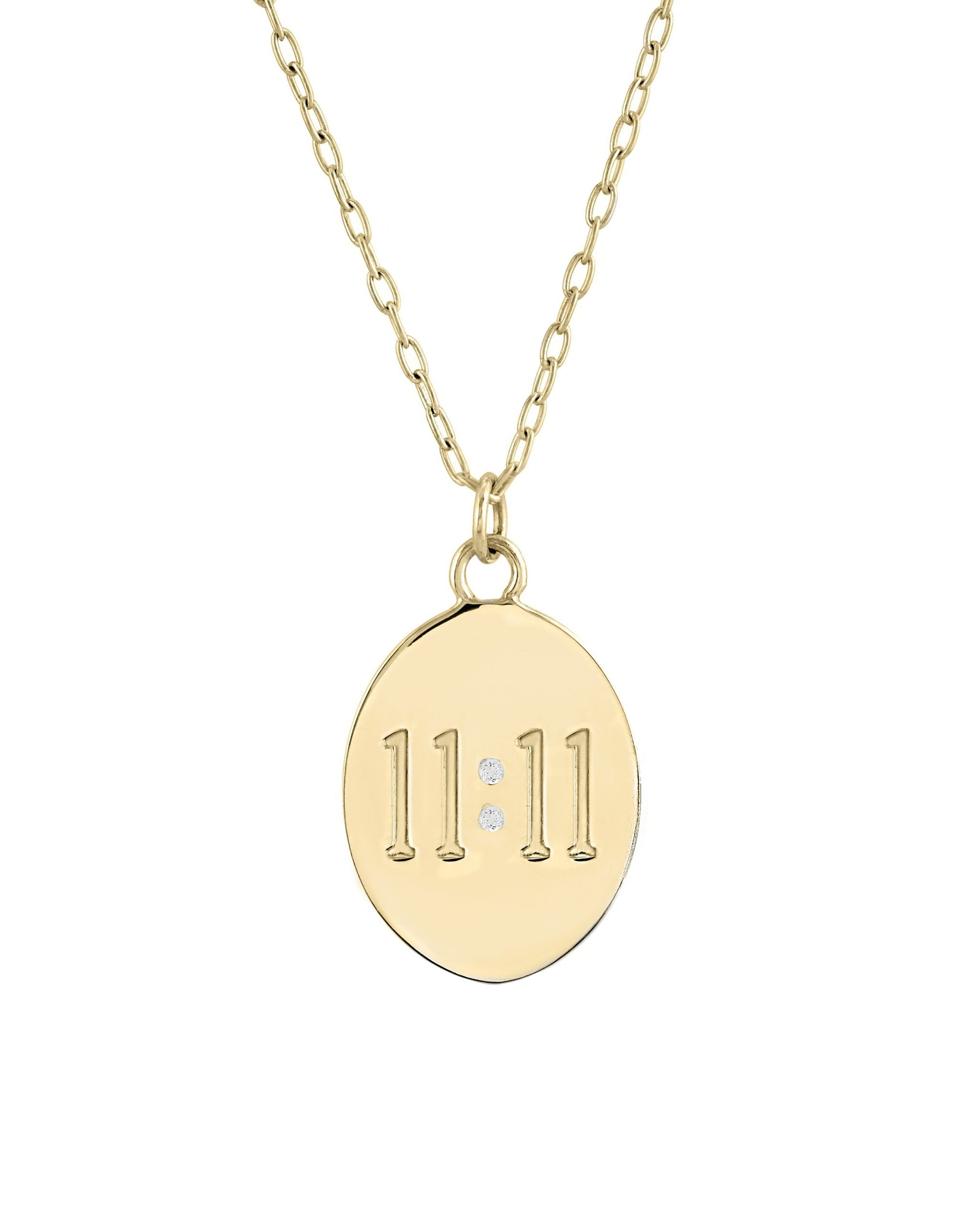 "11:11 Necklace, Oval Medallion with 11:11 engraved and two 1mm semi-precious stones, ""make a wish"" engraved on the back, 14k gold vermeil, handmade by Turquoise + Tobacco in Los Angeles, California"