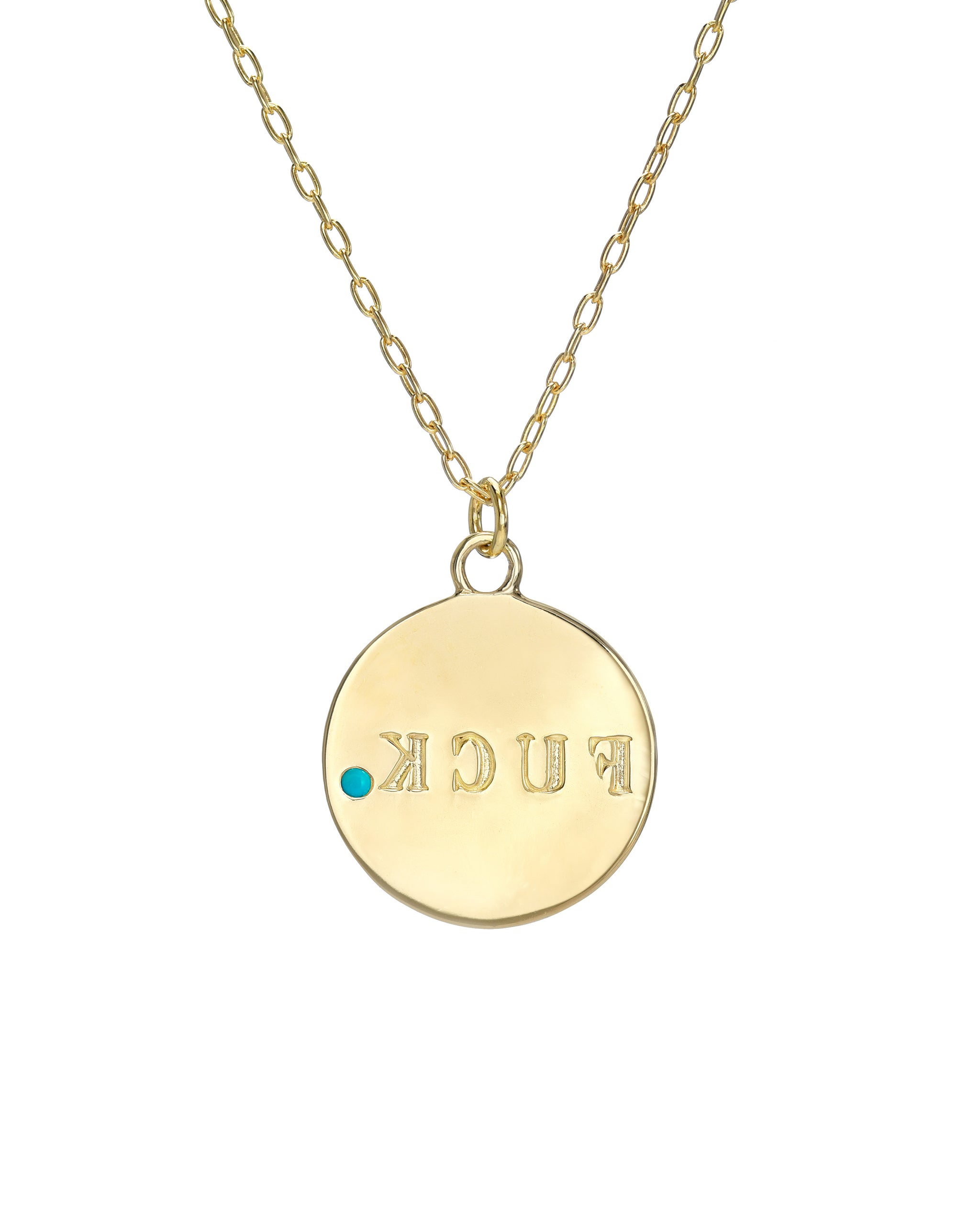 "Retrograde Necklace, 14k Gold Vermeil Necklace with F*CK spelled inversely and a 2mm  semi-precious stone, 16""-18"" adjustable chain, handmade in Los Angeles, California by Turquoise and Tobacco"