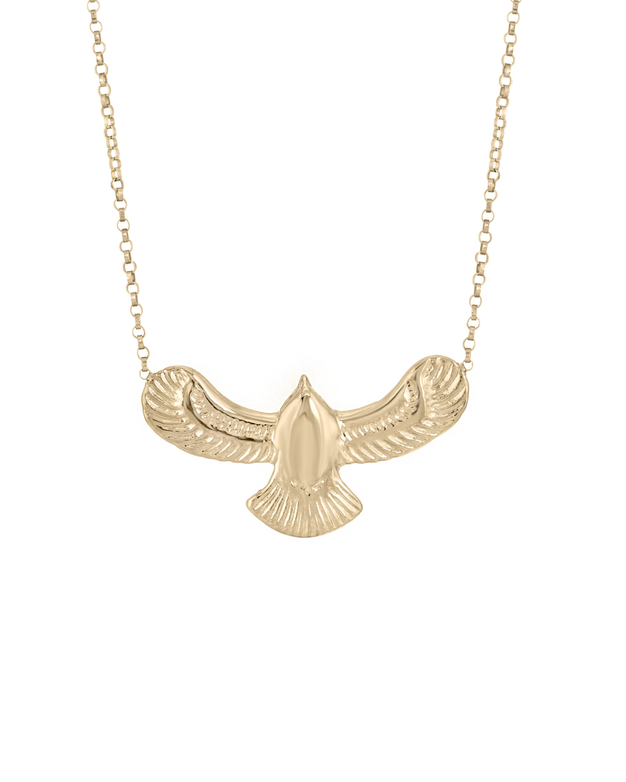 14k Yellow Gold Vermeil Fleetwood Necklace by Turquoise + Tobacco.  Gold Eagle Necklace