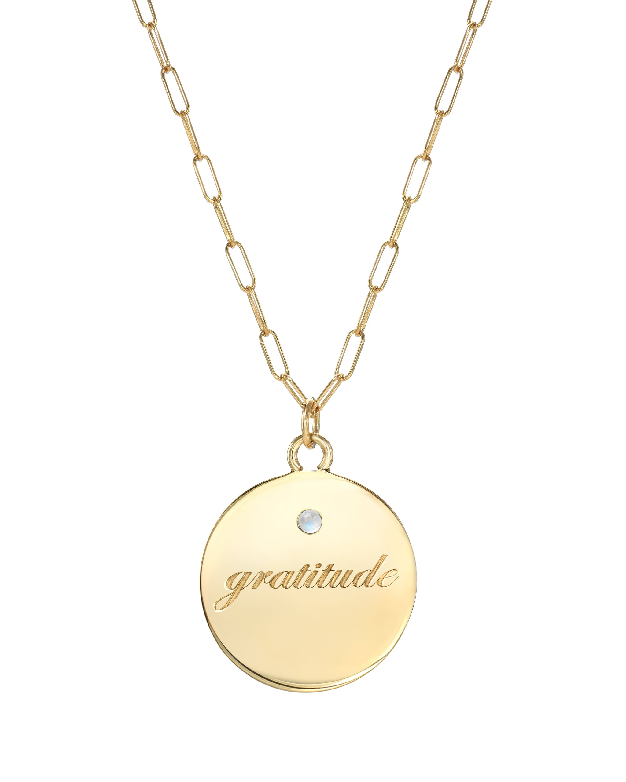 Gratitude Necklace, Gold Vermeil Medallion with Gratitude engraved and a 2mm semi-precious stone. Handmade by Turquoise + Tobacco in Los Angeles, Calfifornia