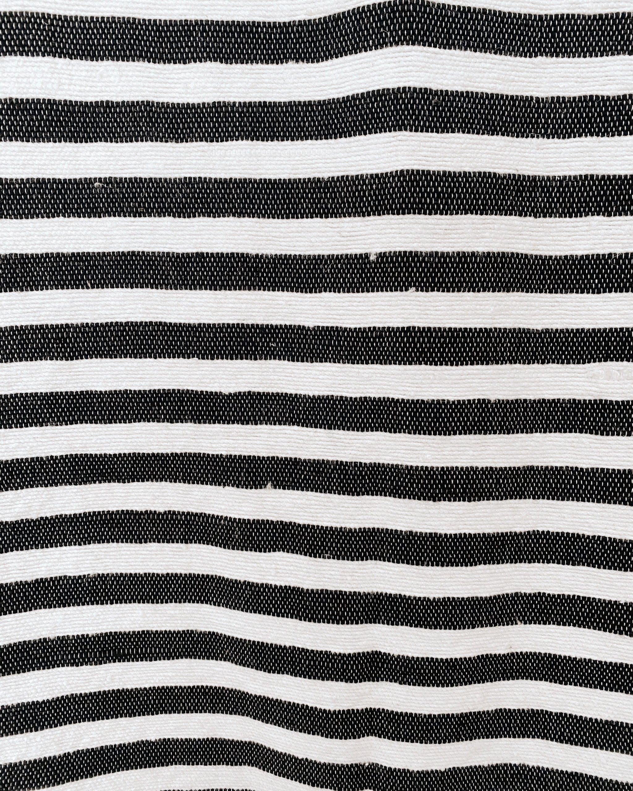 Black Rock Pom Pom Blanket, White with Black Stripes and Black Pom Poms, 100% Cotton Moroccan Blanket