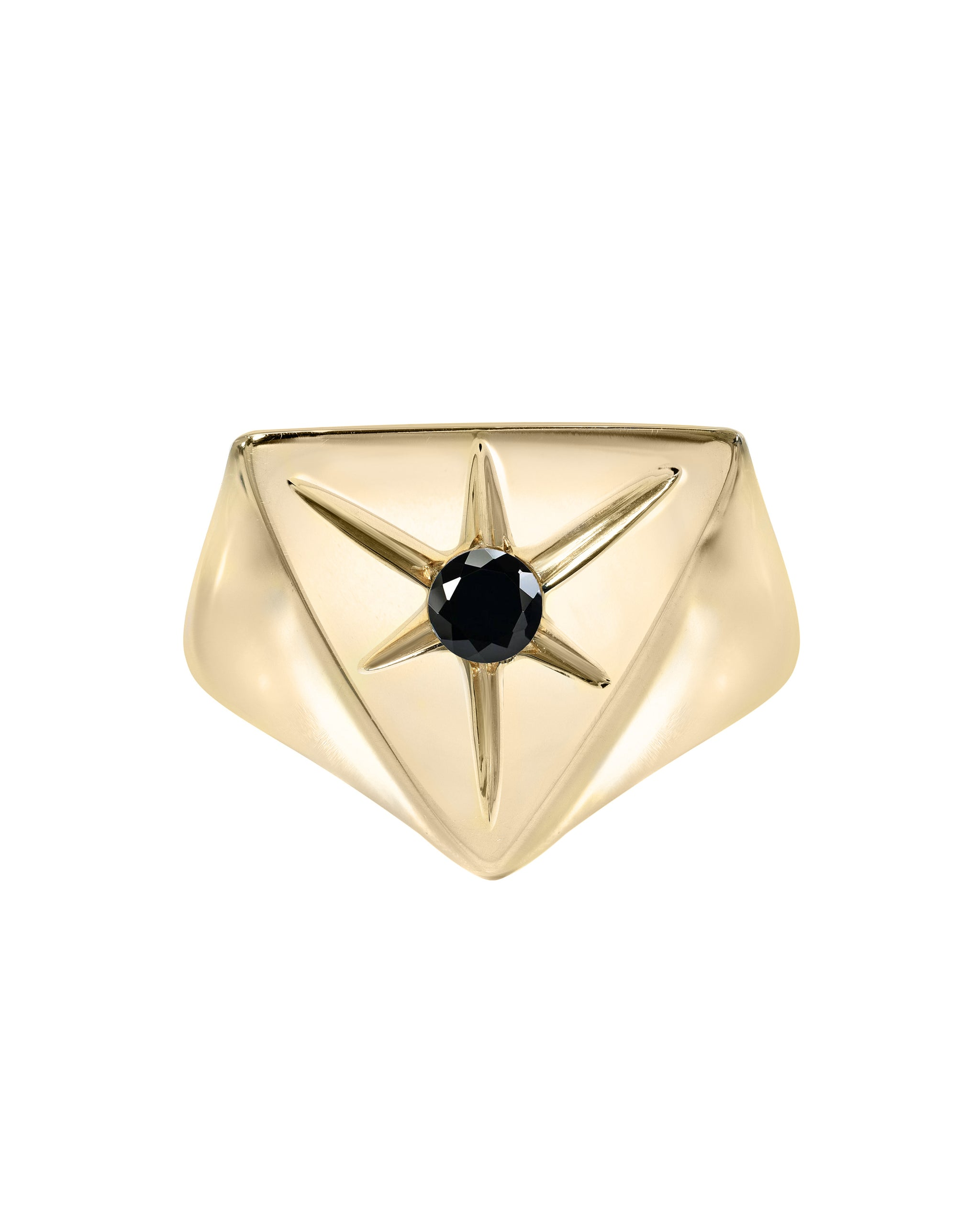 In the Stars Ring, Onyx & Gold Vermeil pyramid signet ring, handmade by Turquoise + Tobacco in Los Angeles, California