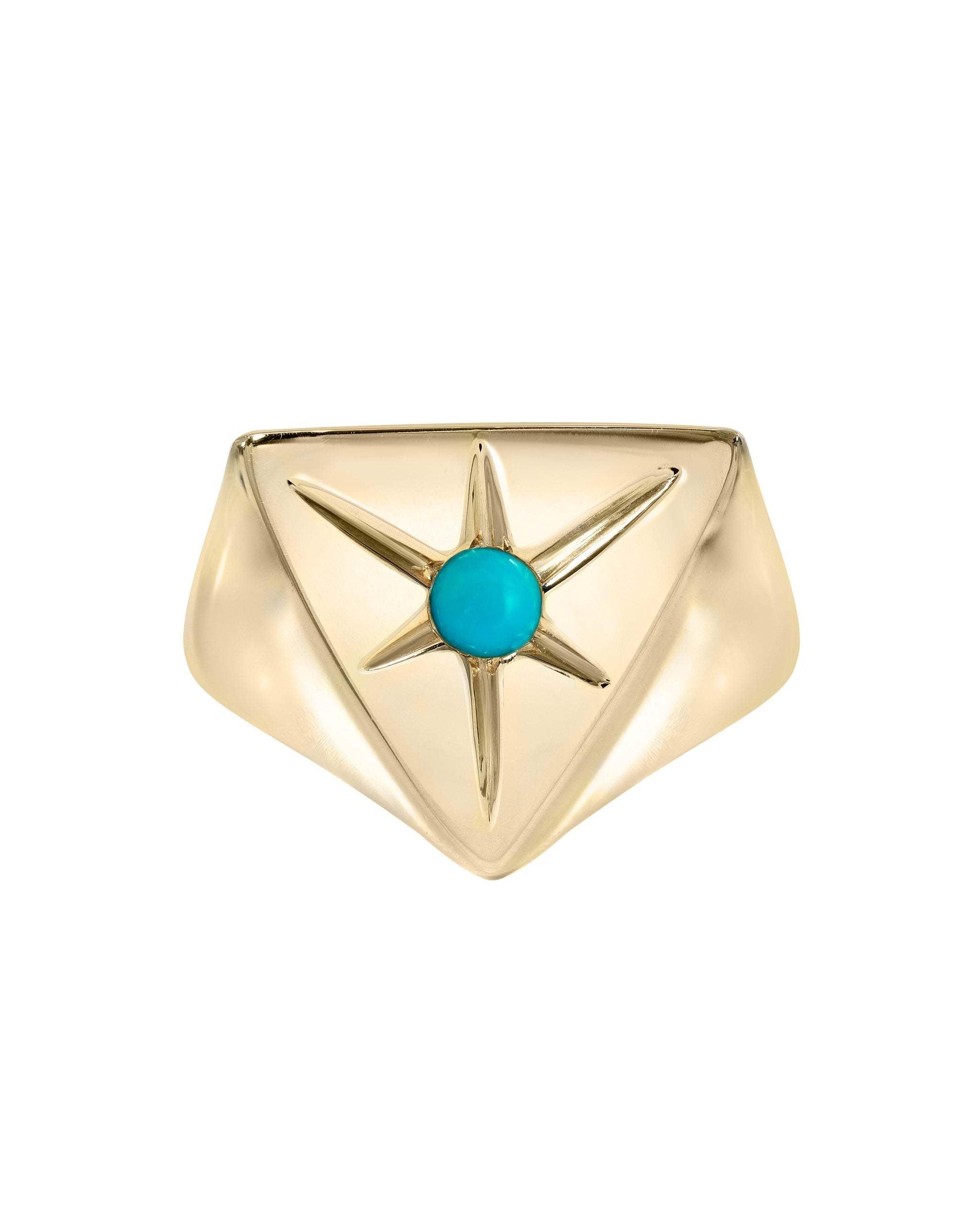 In the Stars Ring, Kingman Turquoise & Gold Vermeil pyramid signet ring, handmade by Turquoise + Tobacco in Los Angeles, California