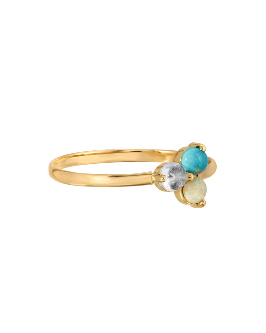 Aura Ring, Turquoise Moonstone & Opal 14k Yellow Gold Ring by Turquoise and Tobacco