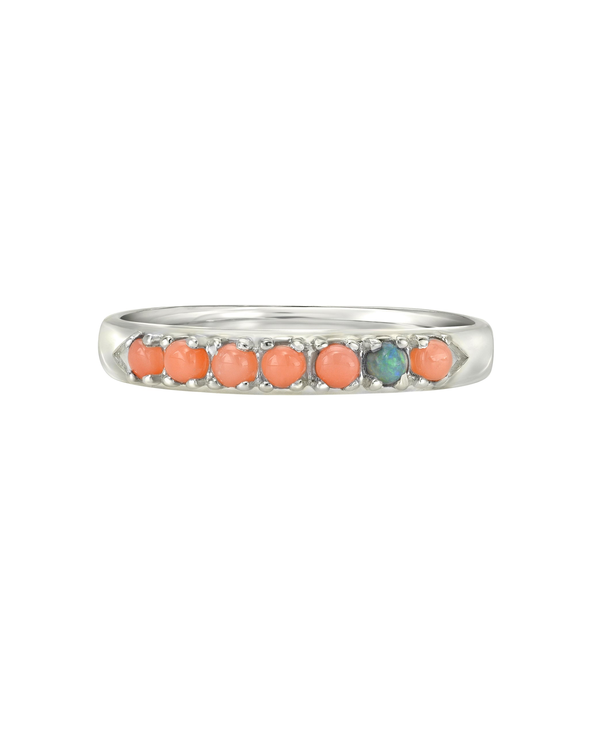 Wylde Ring, Sterling Silver Coral and Opal Chevron Ring, Handmade by Turquoise + Tobacco in Los Angeles California