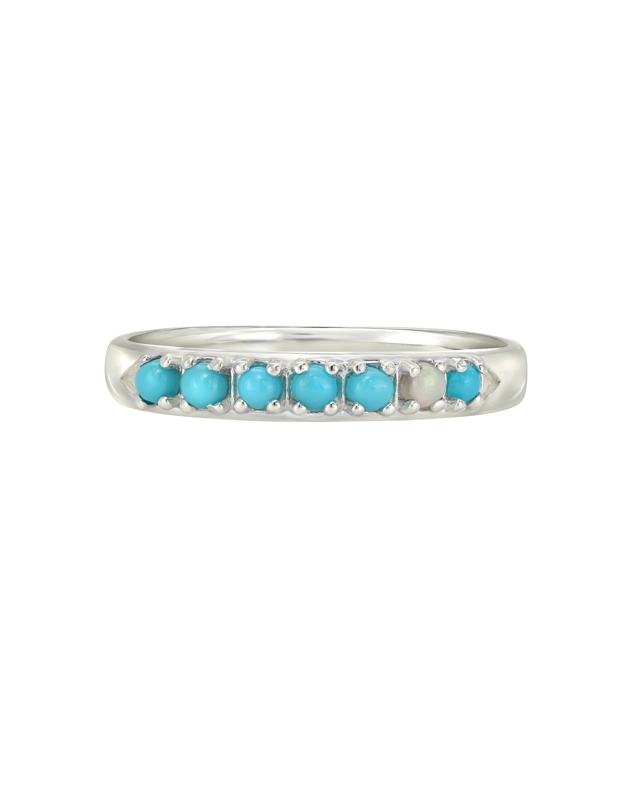 Wylde Ring, Turquoise and Opal Sterling Silver Chevron Ring, Handmade by Turquoise and Tobacco in Los Angeles California