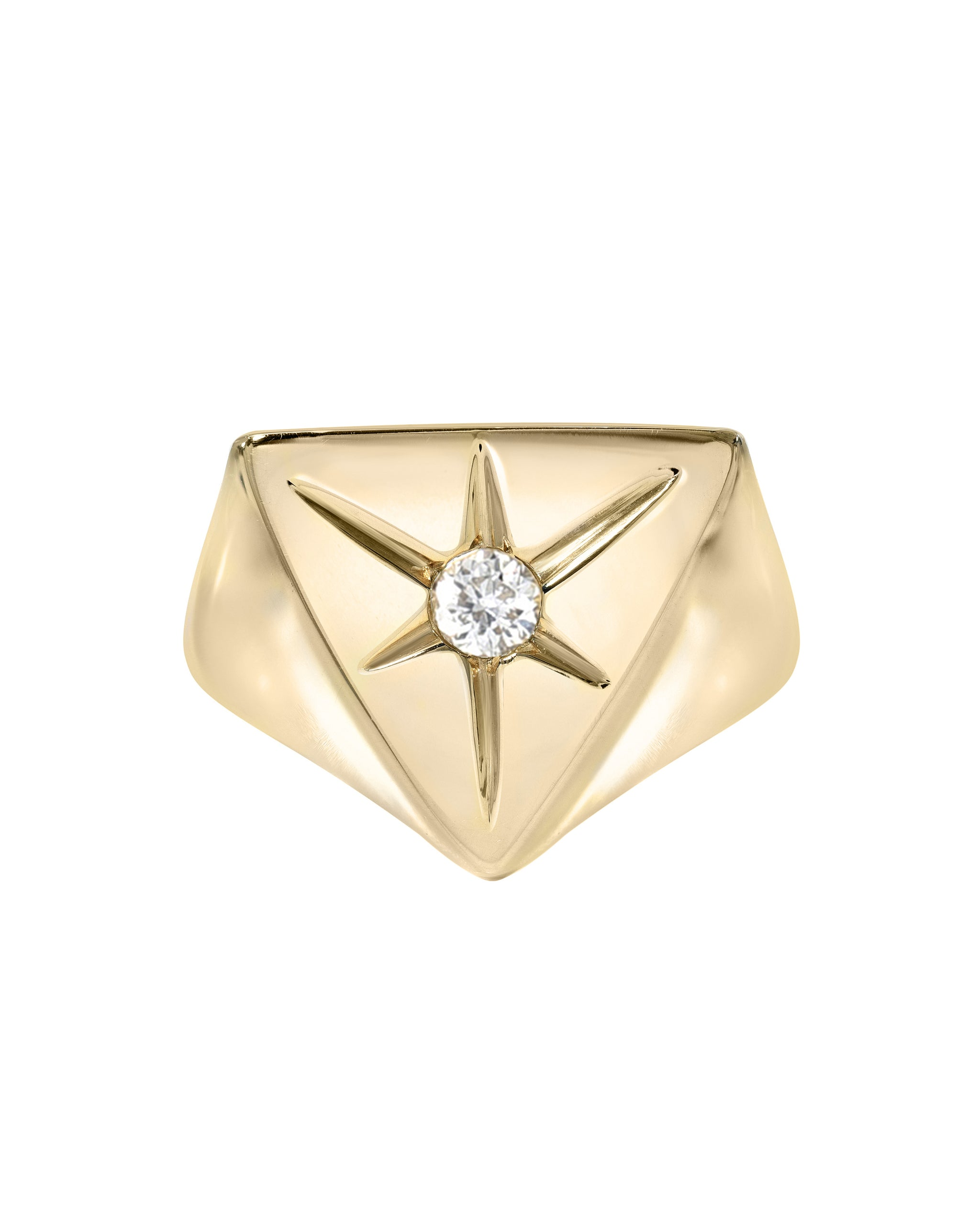 In the Stars Ring, White Topaz & Gold Vermeil pyramid signet ring, handmade by Turquoise + Tobacco in Los Angeles, California