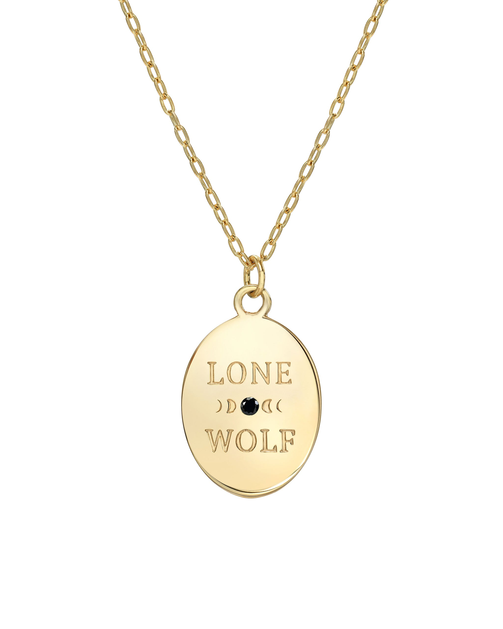 "Lone Wolf Necklace, Onyx and 14k Gold vermeil on a 16""-18"" Adjustable Chain, Handmade in Los Angeles by Turquoise and Tobacco"