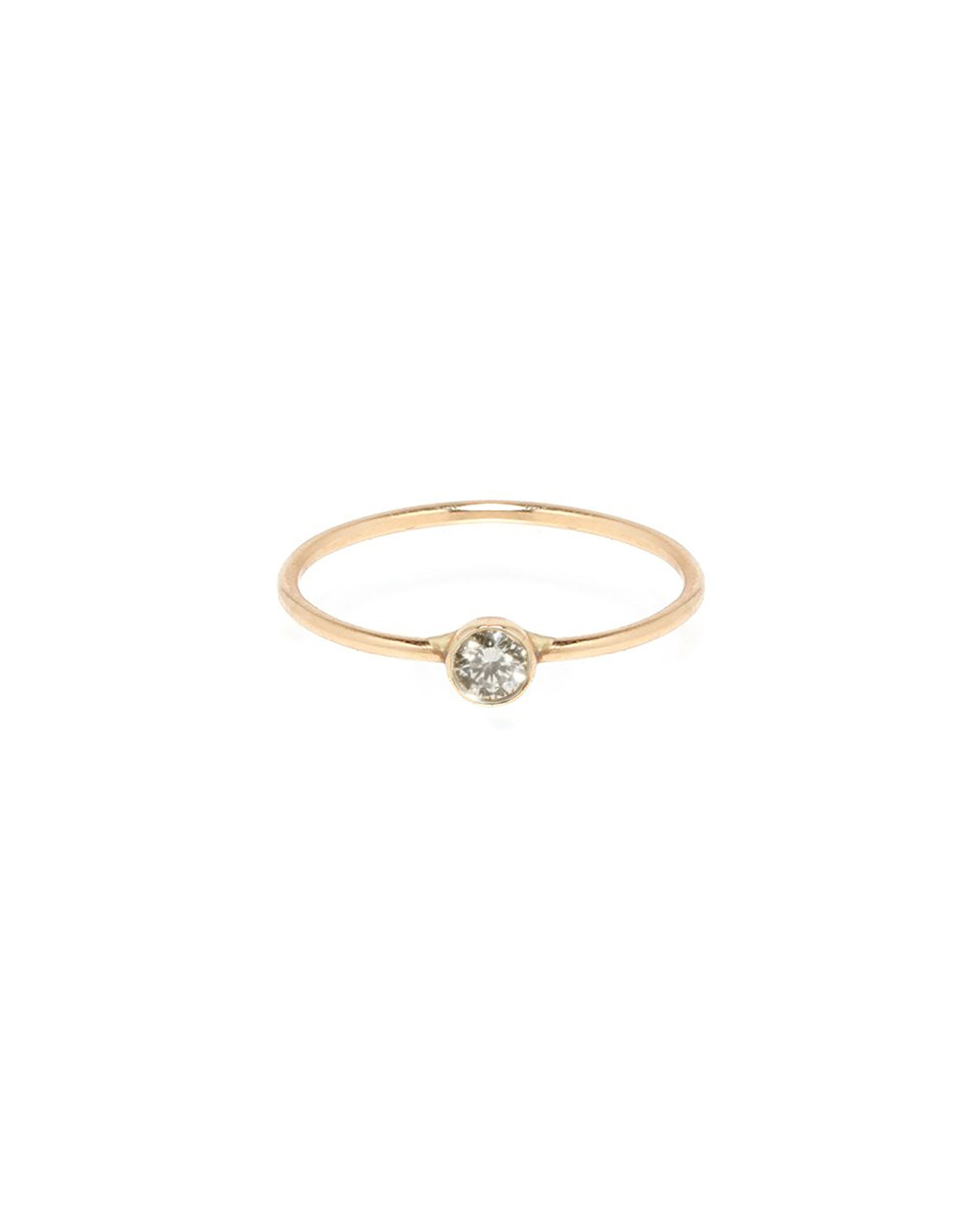 Single Bezel Diamond Stack Ring, 14k Yellow Gold