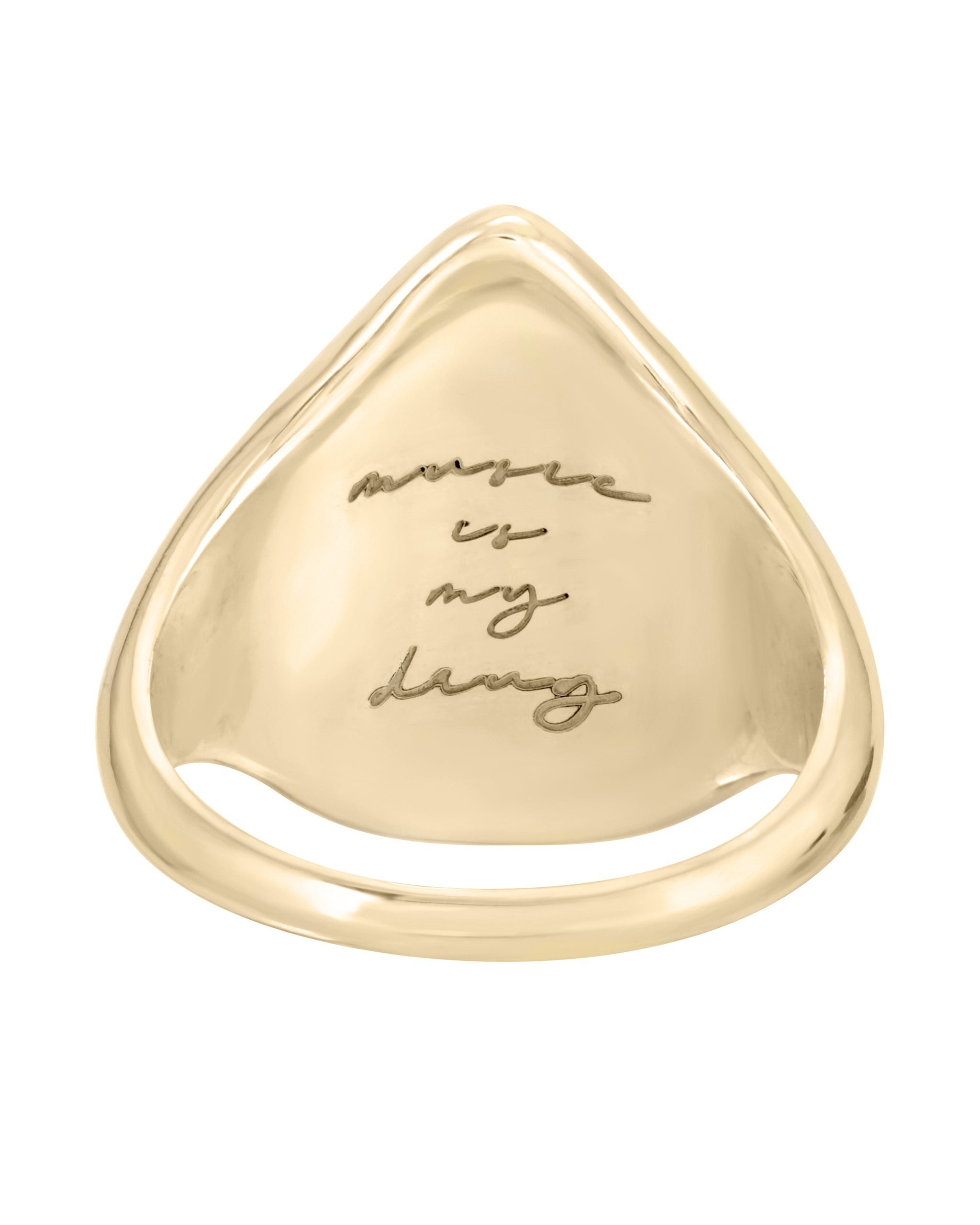 "14k Yellow Gold Guitar Pic Ring with White diamond, ""music is my drug"" engraved on the inside, handmade in Los Angeles California by Turquoise + Tobacco"