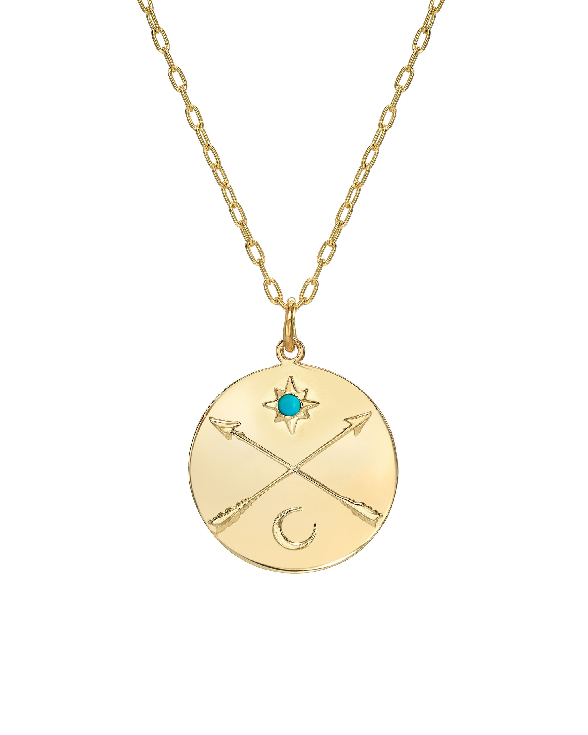"Nomad Necklace, 14k Gold Vermeil Medallion with Crossed Arrows, Sun and Moon and Sleeping Beauty Turquoise, on a 16""-18"" Adjustable Chain, Handmade in Los Angeles, California"
