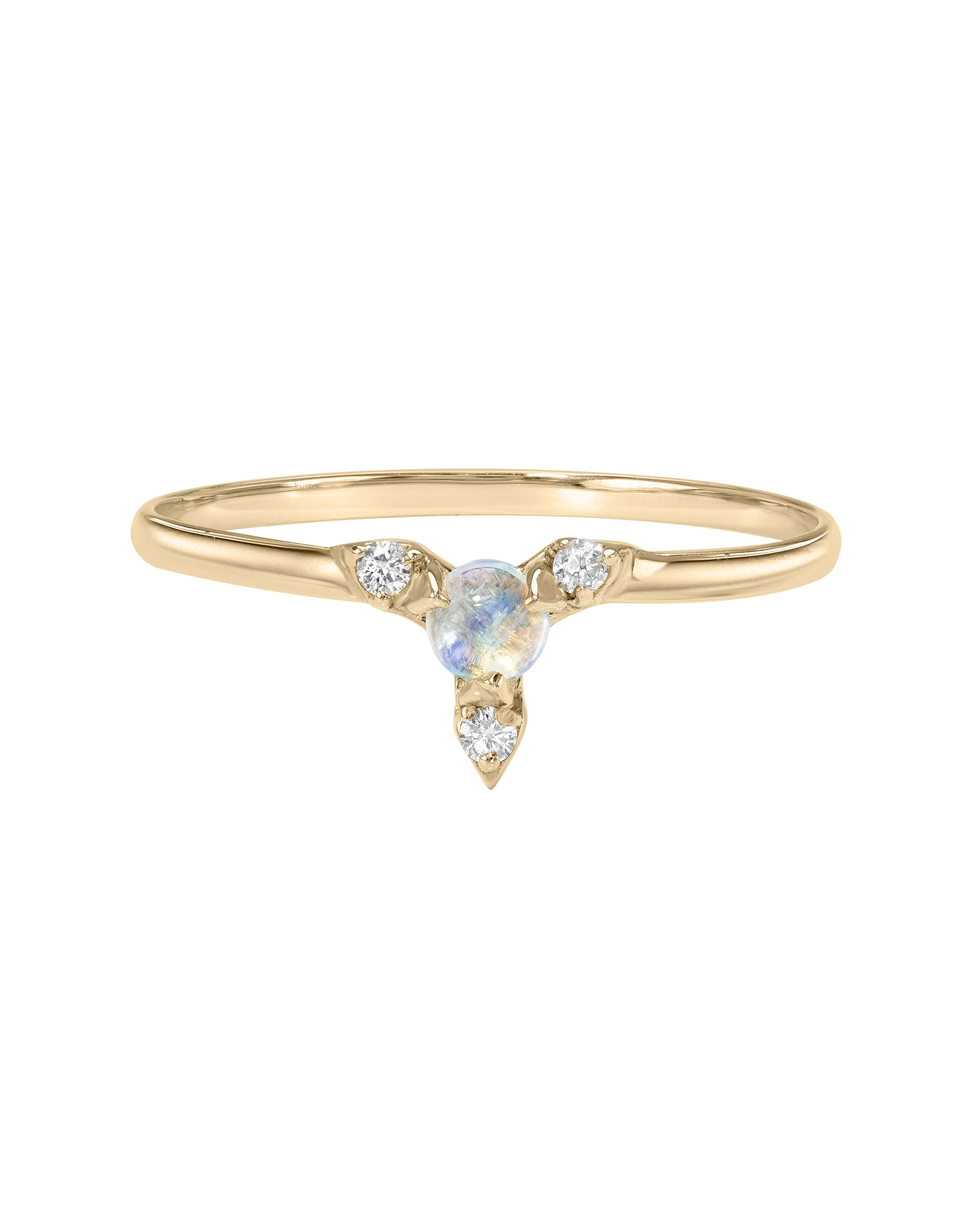 Nova Ring, Moonstone and Diamond Supernova Ring, 14k Yellow Gold, Made by Turquoise and Tobacco