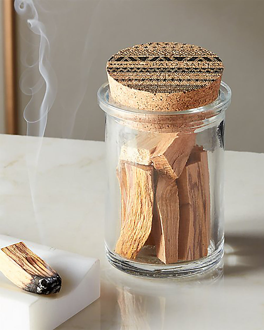 Palo Santo Sticks in a Decorative Glass Jar